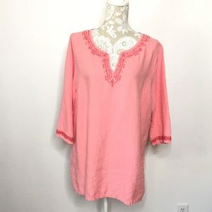 Tommy Bahama Linen Coral Tunic/ Swim Cover/ Top